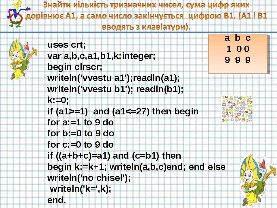 uses crt; var a,b,c,a1,b1,k:integer; begin clrscr; writeln('vvestu a1');readl...