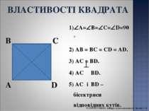 A B C D 1) A= B= C= D=90° 2) AB = BC = CD = AD. 3) AC = BD. 4) АС BD. 5) AC і...