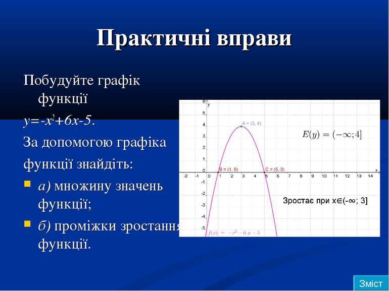 Практичні вправи Побудуйте графік функції y=-x2+6x-5. За допомогою графіка фу...
