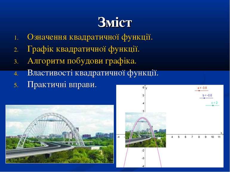 Зміст Означення квадратичної функції. Графік квадратичної функції. Алгоритм п...