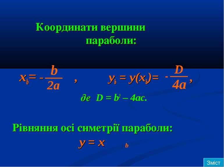 Координати вершини параболи: xb= - , yb = y(xb)= , де D = b2 – 4ac. Рівняння ...