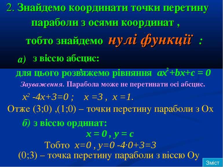 2. Знайдемо координати точки перетину параболи з осями координат , тобто знай...