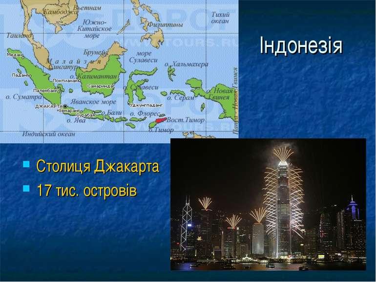 Індонезія Столиця Джакарта 17 тис. островів
