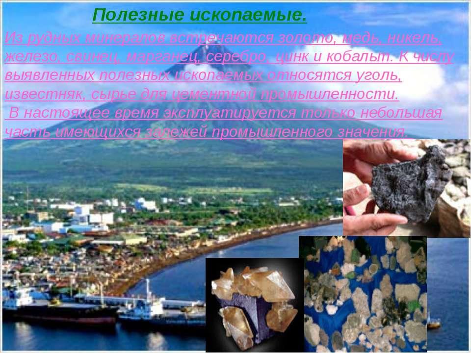 Из рудных минералов встречаются золото, медь, никель, железо, свинец, маргане...