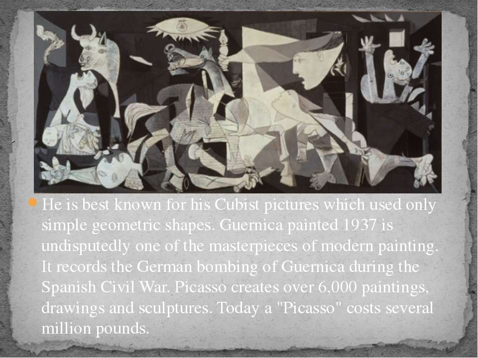 He is best known for his Cubist pictures which used only simple geometric sha...