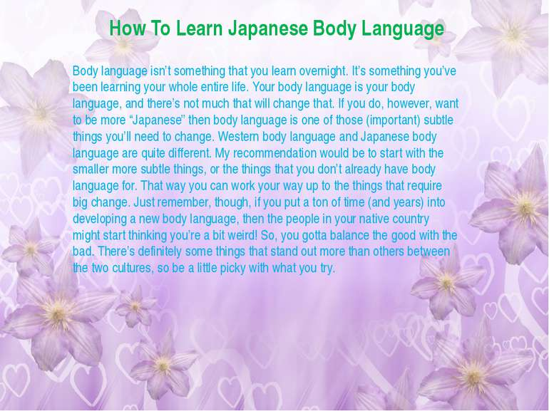 How To Learn Japanese Body Language Body language isn't something that you le...