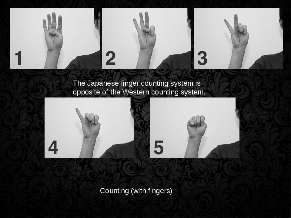 Counting (with fingers) The Japanese finger counting system is opposite of th...