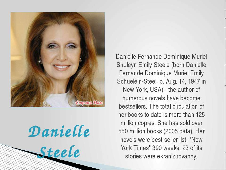 Danielle Fernande Dominique Muriel Shuleyn Emily Steele (born Danielle Fernan...