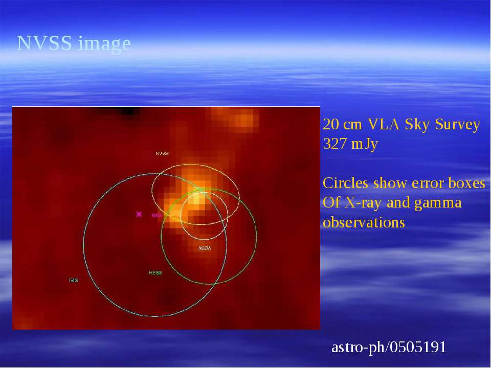 astro-ph/0505191 NVSS image 20 cm VLA Sky Survey 327 mJy Circles show error b...