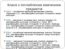 Класи з поглибленим вивченням предметів 4(8)А – поглиблене вивчення математик...