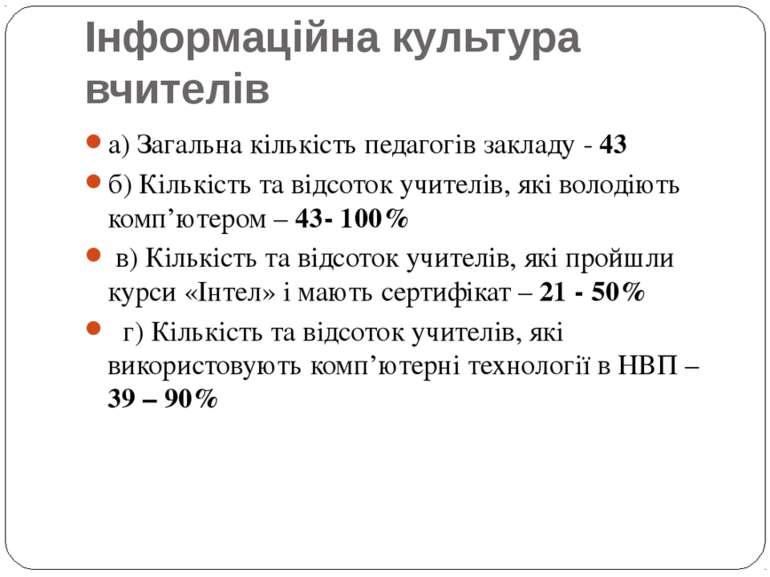 Інформаційна культура вчителів а) Загальна кількість педагогів закладу - 43 б...
