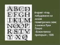 Алфавіт літер, побудованих на основі геометричних схем; з книжки Луки Пачолі ...