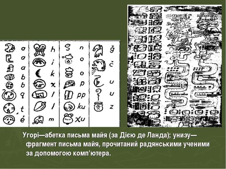 Угорі—абетка письма майя (за Дією де Ланда); унизу—фрагмент письма майя, проч...