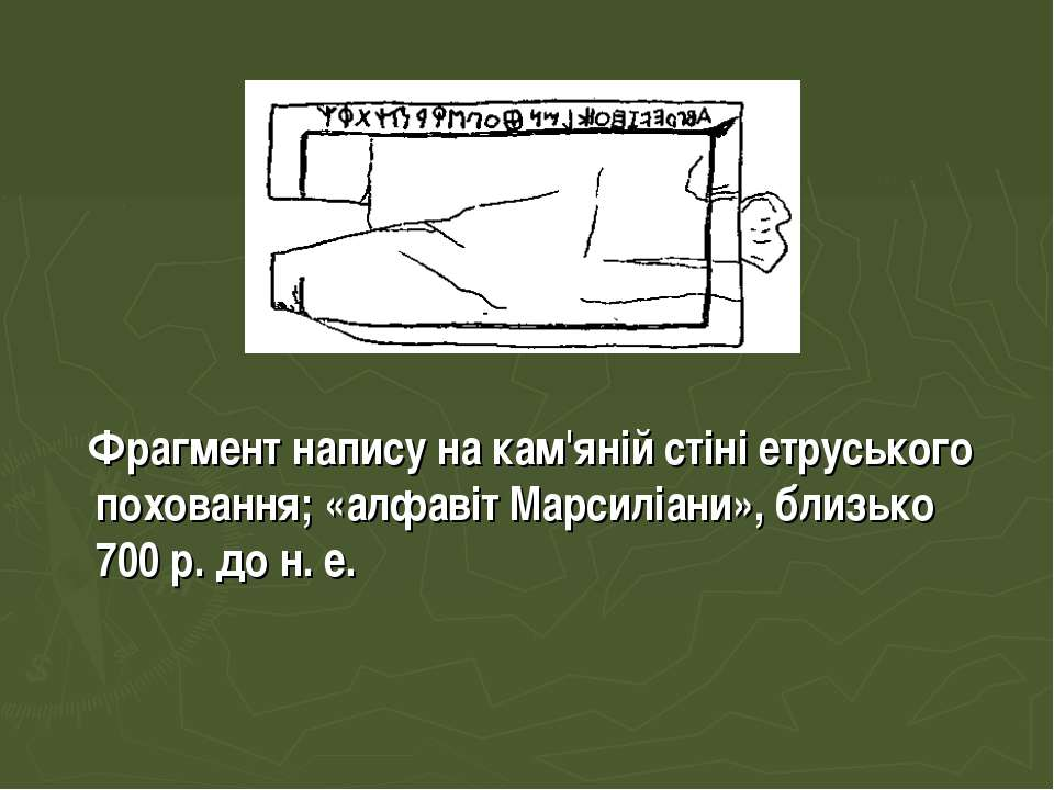Фрагмент напису на кам'яній стіні етруського поховання; «алфавіт Марсиліани»,...