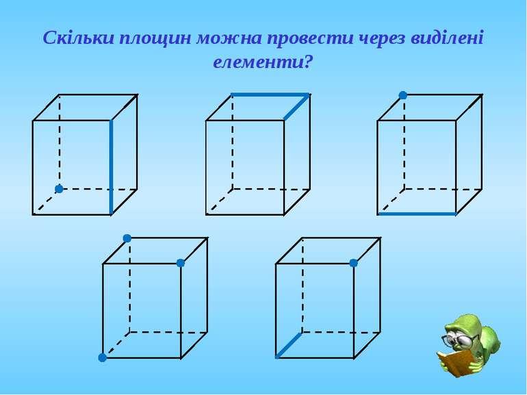 Скільки площин можна провести через виділені елементи?