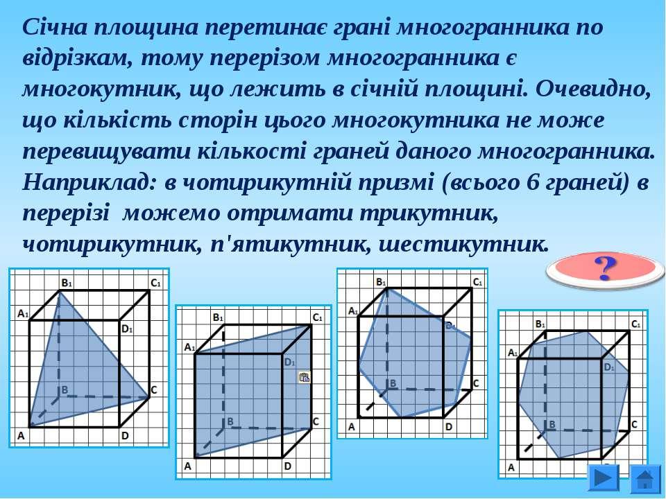 Січна площина перетинає грані многогранника по відрізкам, тому перерізом мног...