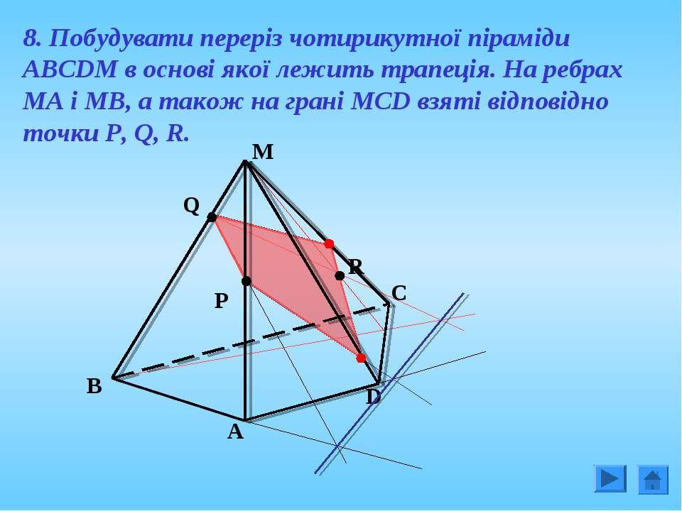 8. Побудувати переріз чотирикутної піраміди АВСDM в основі якої лежить трапец...