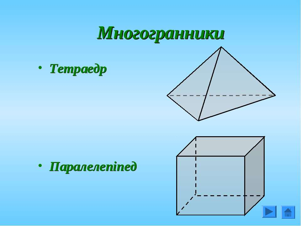 Многогранники Тетраедр Паралелепіпед