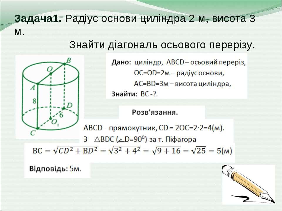 Задача1. Радіус основи циліндра 2 м, висота 3 м. Знайти діагональ осьового пе...