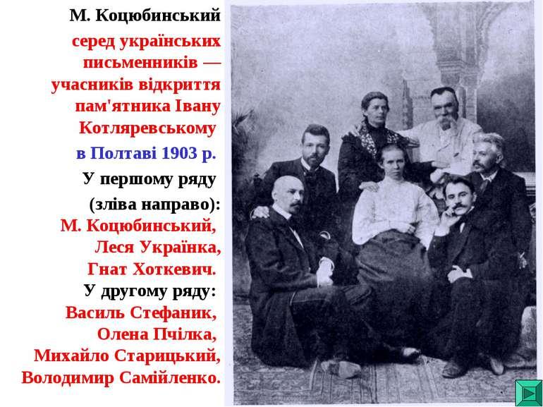 М. Коцюбинський серед українських письменників — учасників відкриття пам'ятни...
