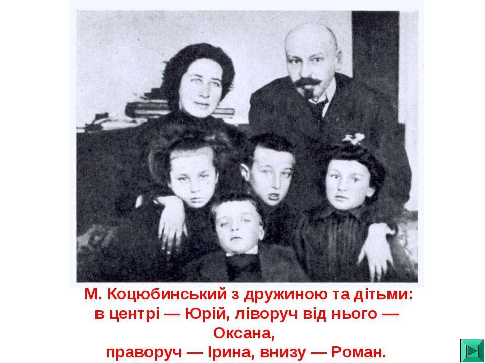 М. Коцюбинський з дружиною та дітьми: в центрі — Юрій, ліворуч від нього — Ок...