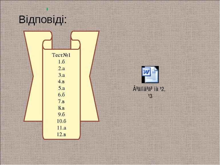 Тест№1 1.б 2.а 3.а 4.в 5.а 6.б 7.в 8.в 9.б 10.б 11.а 12.в Відповіді: