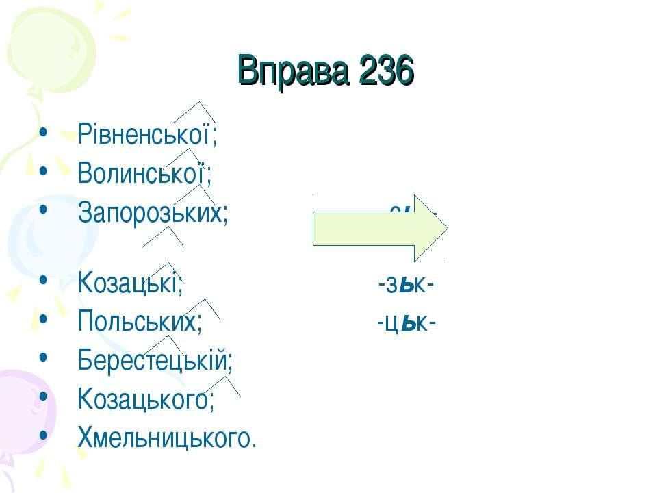 Вправа 236 Рівненської; Волинської; Запорозьких; –ськ- Козацькі; -зьк- Польсь...