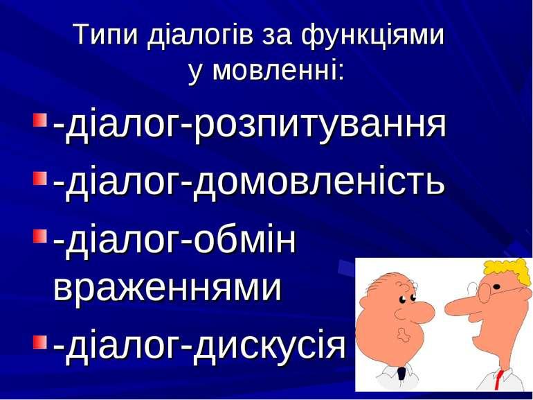 Типи діалогів за функціями у мовленні: -діалог-розпитування -діалог-домовлені...