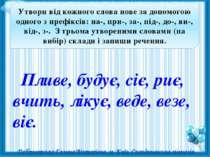 Утвори від кожного слова нове за допомогою одного з префіксів: на-, при-, за-...