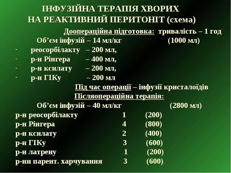 ІНФУЗІЙНА ТЕРАПІЯ ХВОРИХ НА РЕАКТИВНИЙ ПЕРИТОНІТ (схема) Доопераційна підгото...
