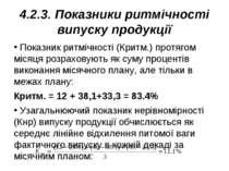 4.2.3. Показники ритмічності випуску продукції Показник ритмічності (Критм.) ...