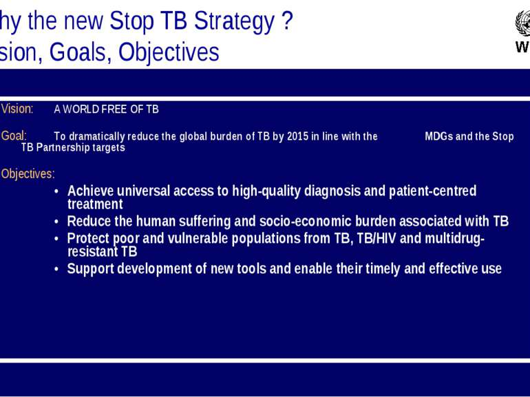 Vision: A WORLD FREE OF TB Goal: To dramatically reduce the global burden of ...
