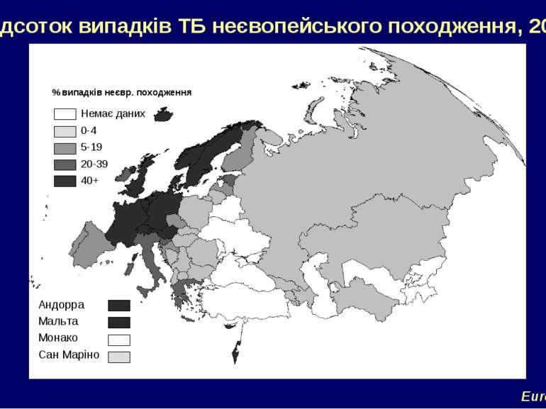 Відсоток випадків ТБ неєвопейського походження, 2004 EuroTB