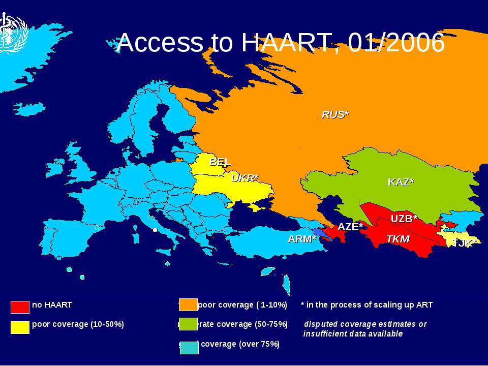 RUS* ARM* KAZ* UZB* TKM TJK* AZE* BEL UKR* no HAART very poor coverage ( 1-10...