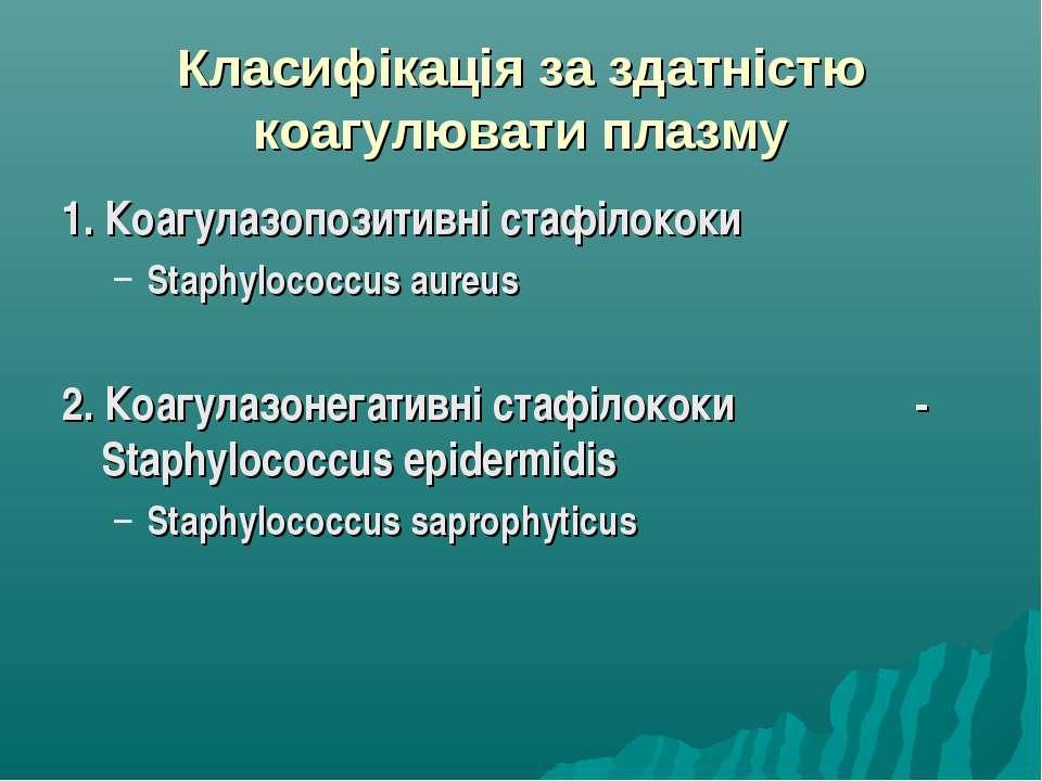 Класифікація за здатністю коагулювати плазму 1. Коагулазопозитивні стафілокок...