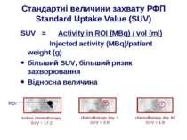 Стандартні величини захвату РФП Standard Uptake Value (SUV) SUV = Activity in...