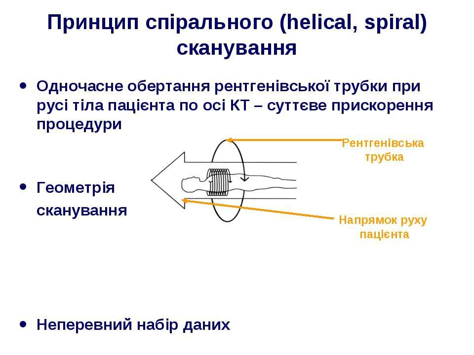 Принцип спірального (helical, spiral) сканування Одночасне обертання рентгені...