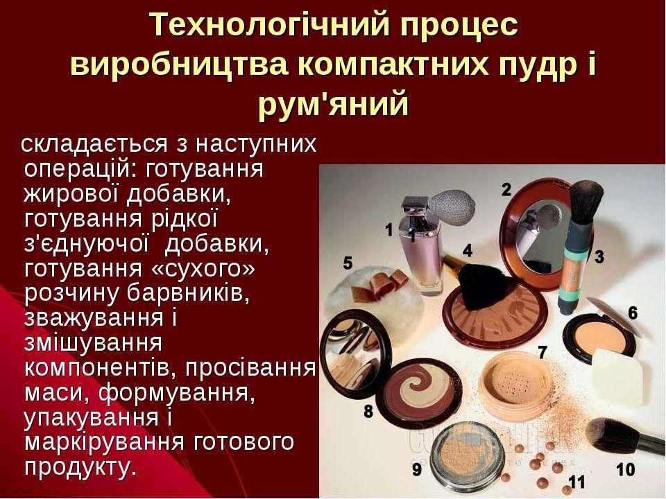 Технологічний процес виробництва компактних пудр і рум'яний складається з нас...
