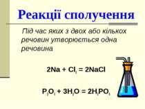 Реакції сполучення Під час яких з двох або кількох речовин утворюється одна р...