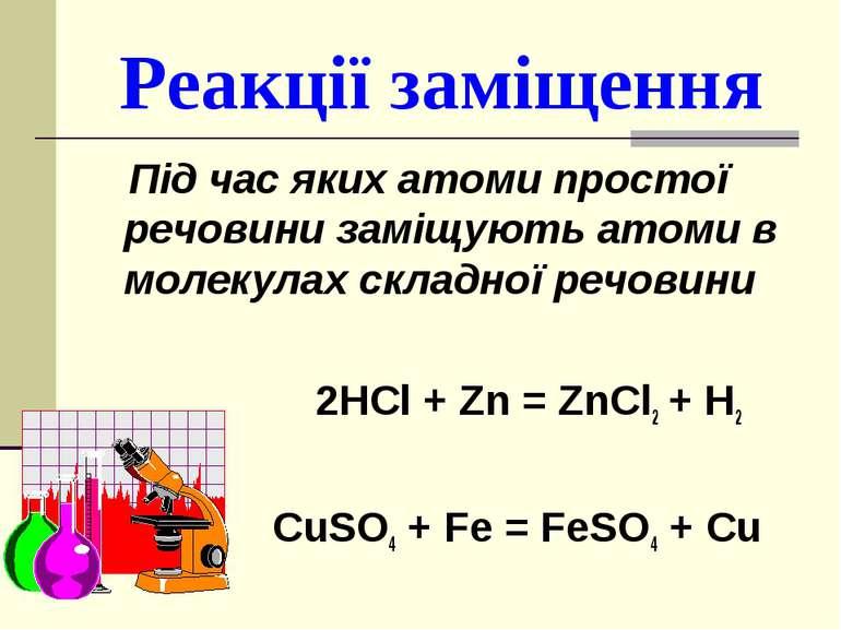 Реакції заміщення Під час яких атоми простої речовини заміщують атоми в молек...