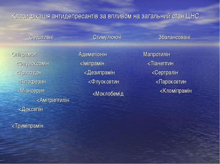 Класифікація антидепресантів за впливом на загальний стан ЦНС