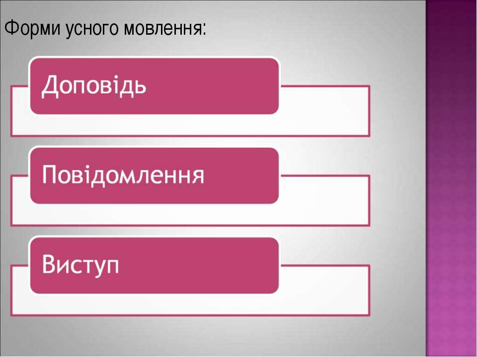 Форми усного мовлення: