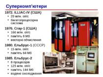 1972. ILLIAC-IV (США) 20 млн. оп/c багатопроцесорна система 1976. Cray-1 (США...