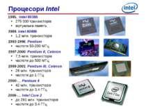 1985. Intel 80386 275 000 транзисторів віртуальна память 1989. Intel 80486 1,...