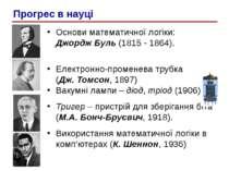Основи математичної логiки: Джордж Буль (1815 - 1864). Електронно-променева т...