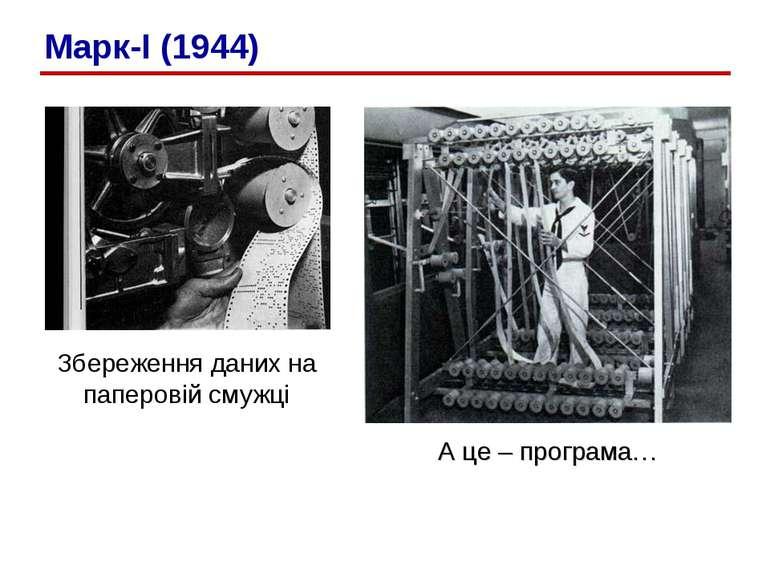 Збереження даних на паперовій смужці А це – програма… Марк-I (1944)