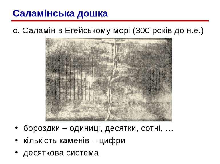о. Саламін в Егейському морі (300 років до н.е.) бороздки – одиниці, десятки,...
