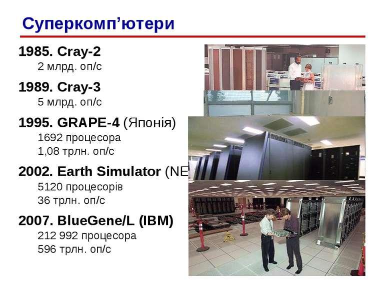 1985. Cray-2 2 млрд. оп/c 1989. Cray-3 5 млрд. оп/c 1995. GRAPE-4 (Японія) 16...