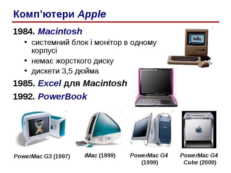 1984. Macintosh системний блок і монітор в одному корпусі немає жорсткого дис...