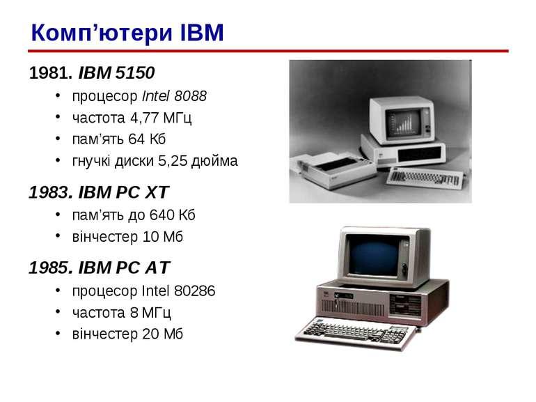 1981. IBM 5150 процесор Intel 8088 частота 4,77 МГц пам'ять 64 Кб гнучкі диск...